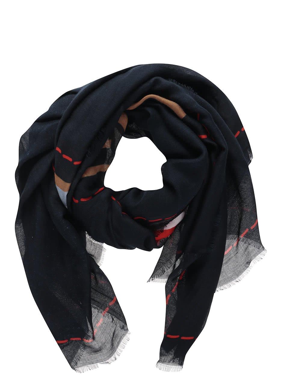 Červeno-modrý dámský šátek s motivem srdce Tommy Hilfiger