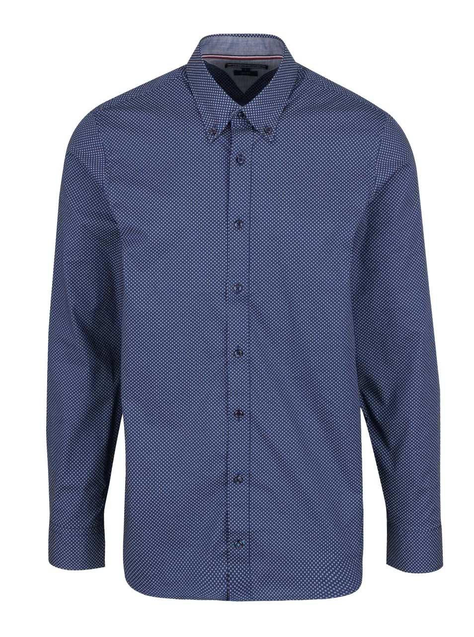 Bílo-modrá pánská vzorovaná slim fit košile Tommy Hilfiger