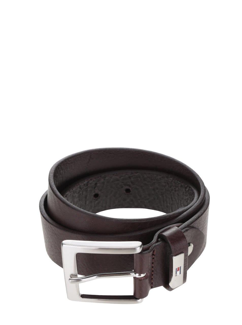 Tmavě hnědý pánský kožený pásek Tommy Hilfiger