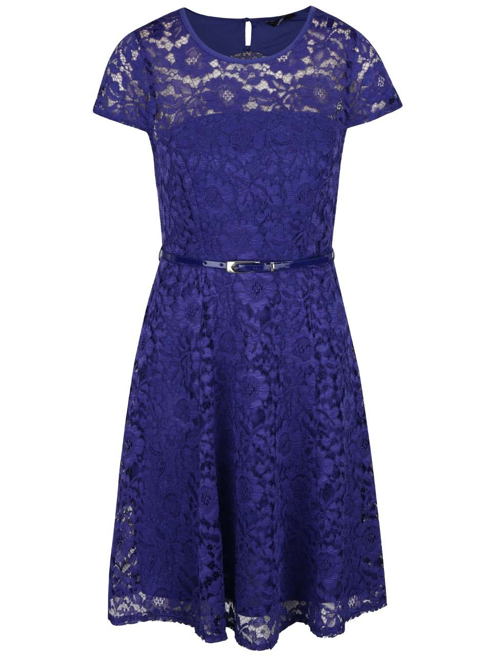 Modré krajkové šaty s páskem Dorothy Perkins
