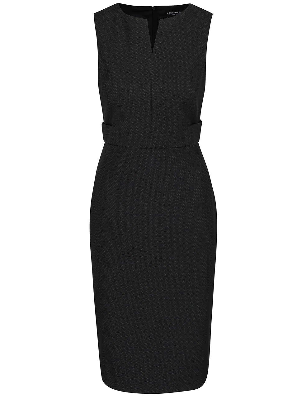 Černé pouzdrové šaty s drobnými puntíky Dorothy Perkins