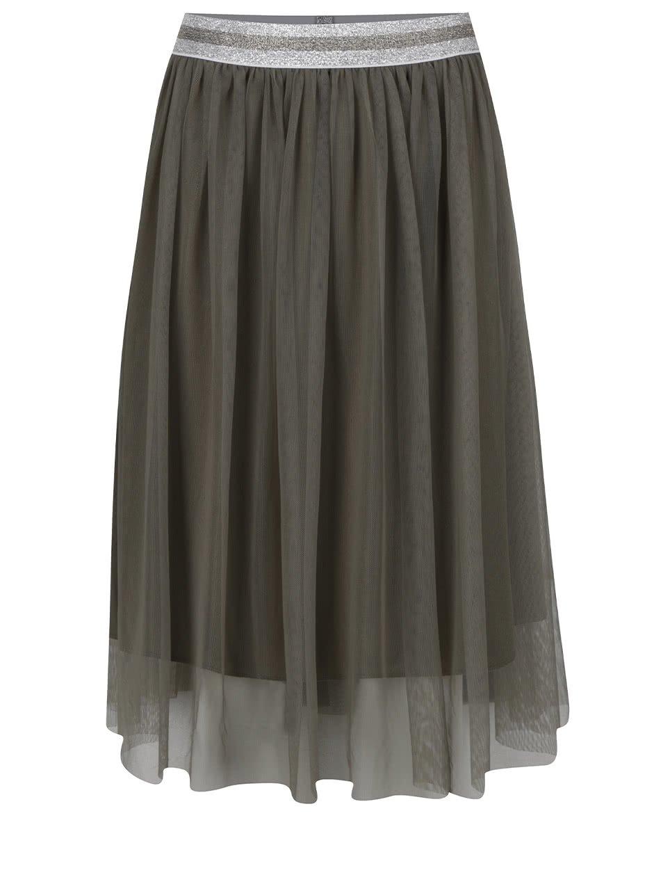 Khaki tylová sukně ONLY Shell
