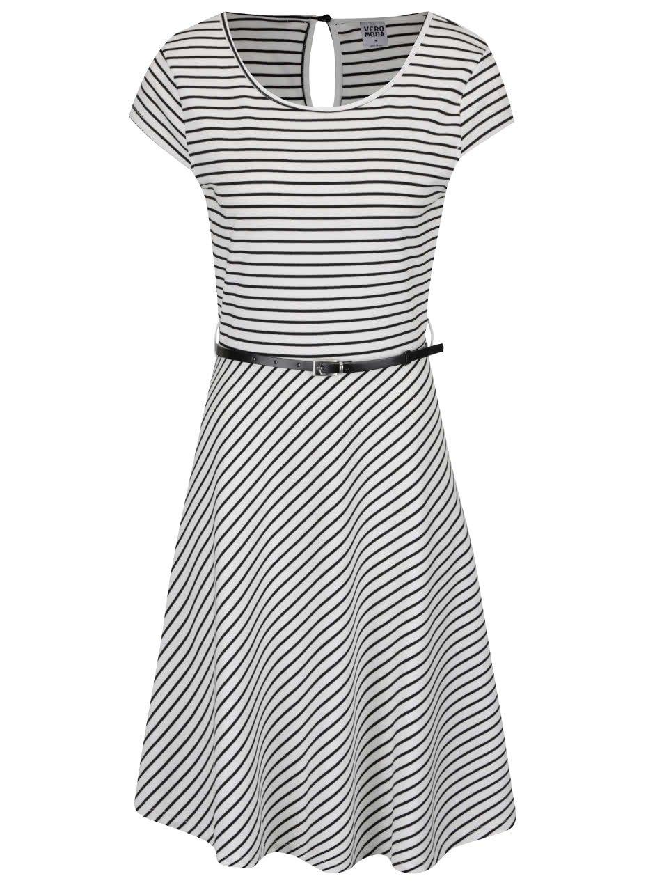 Černo-bílé pruhované šaty s páskem VERO MODA Vigga