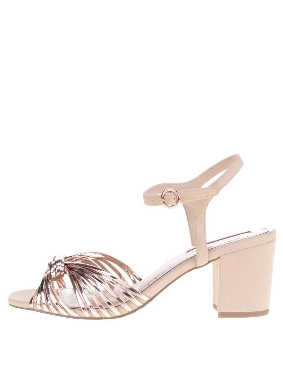f773d595c8f52 Staroružové metalické sandálky na podpätku Miss KG
