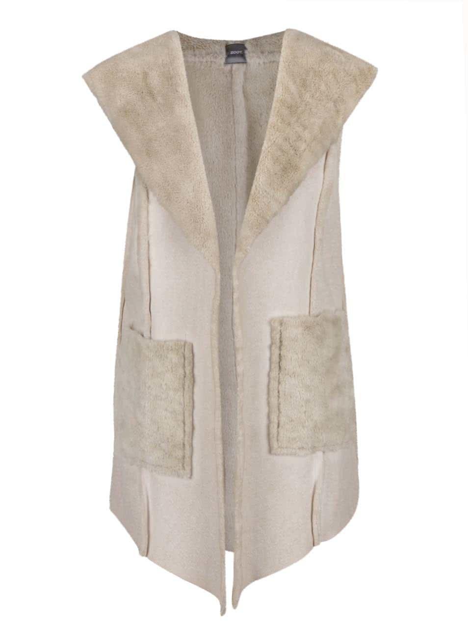 Béžová vesta z umělé kožešiny s kapucí a kapsami ZOOT