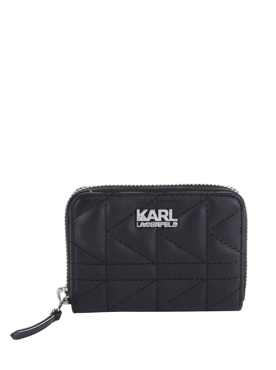 Černá kožená prošívaná peněženka KARL LAGERFELD