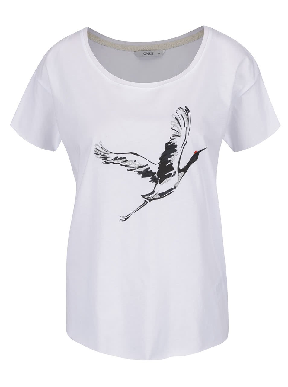 Bílé tričko s potiskem ONLY Draw Big Crane