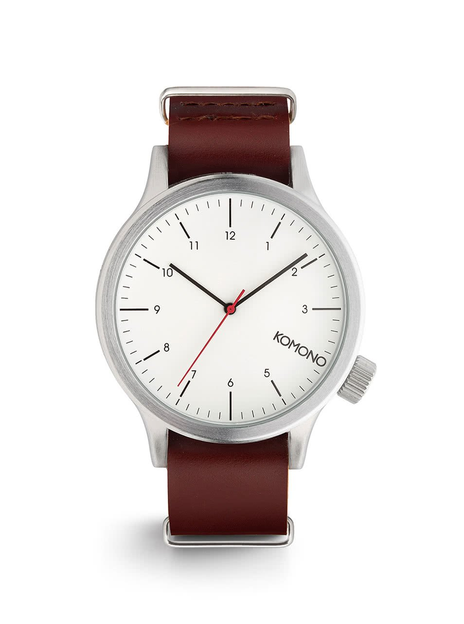 Pánské hodinky ve stříbrné barvě s koženým páskem Komono Magnus