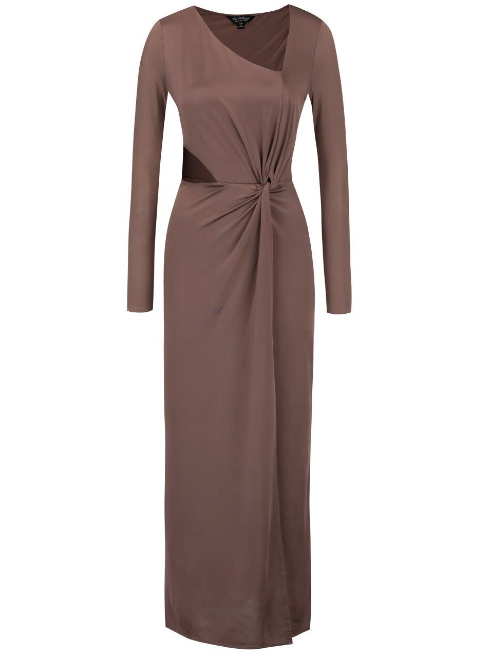 Hnědé lesklé dlouhé šaty s dlouhým rukávem Miss Selfridge