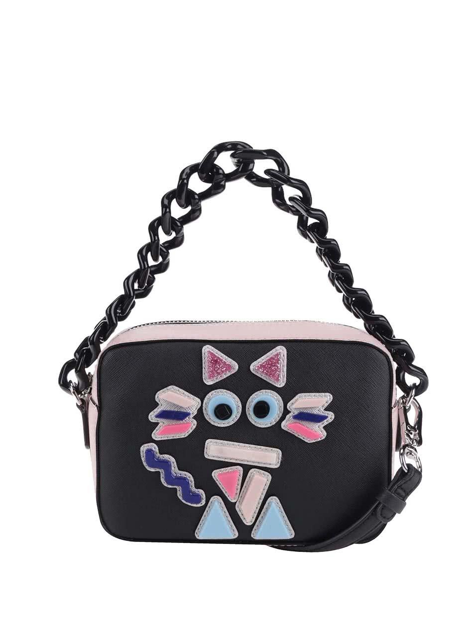 Růžovo-černá malá crossbody kabelka s koženými detaily KARL LAGERFELD