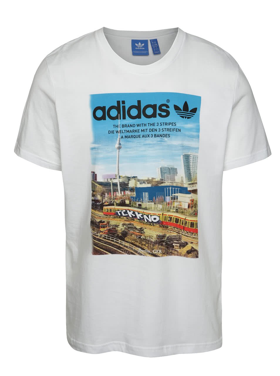 Bílé pánské triko s celopotiskem adidas Originals Spree Vollgas