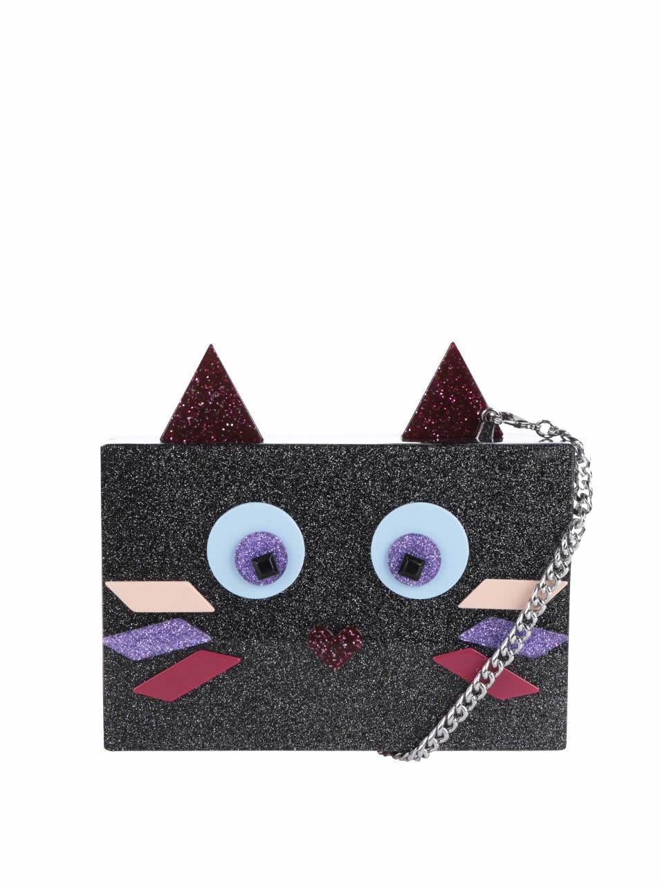 Černé třpytivé plastové psaníčko s motivem kočky KARL LAGERFELD