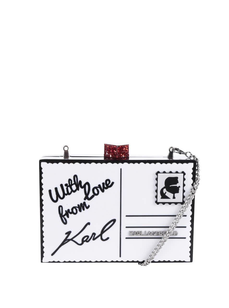 Černo-bílé plastové psaníčko ve tvaru obálky KARL LAGERFELD