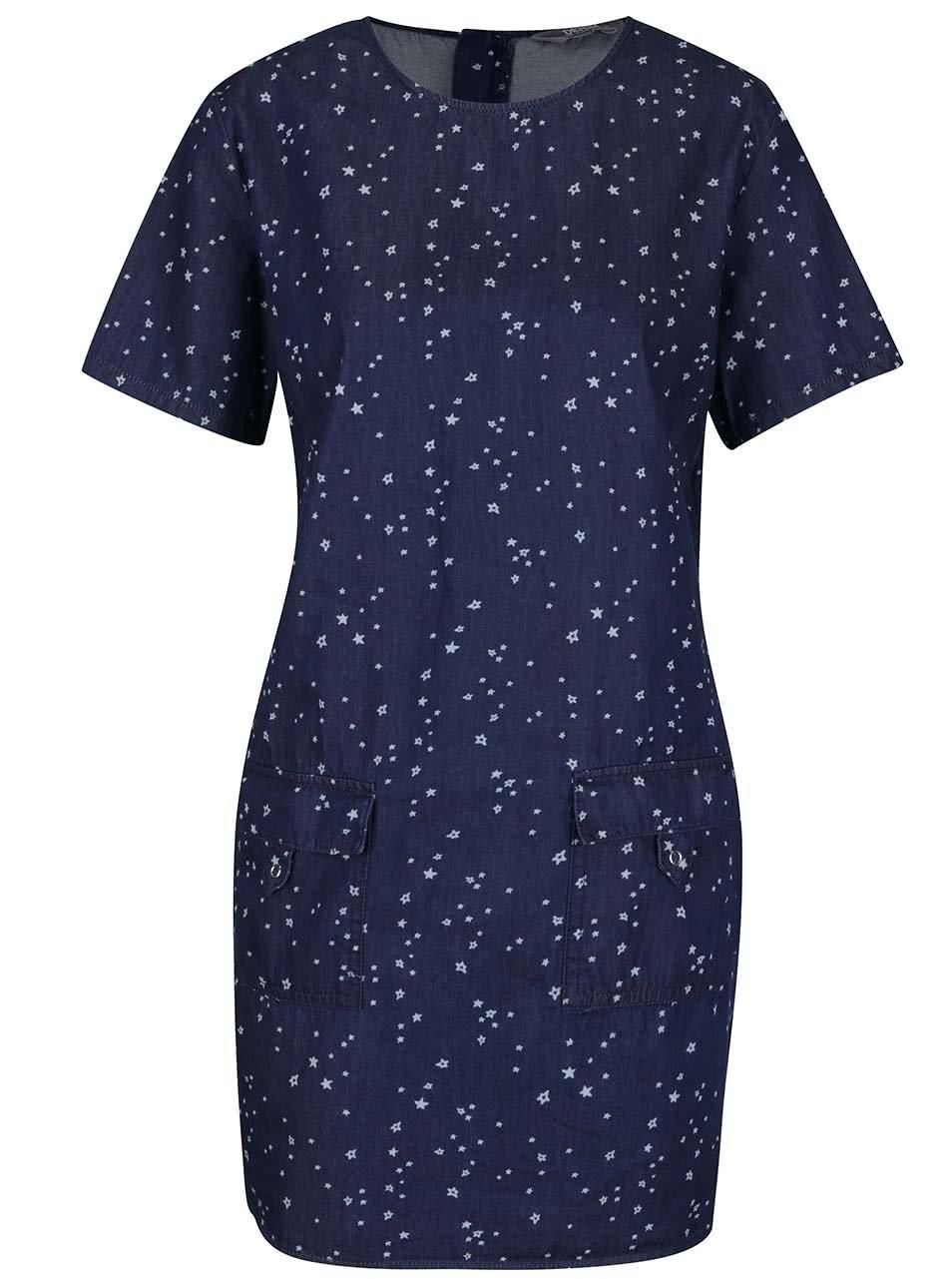 Tmavě modré denimové šaty s drobným vzorem Dorothy Perkins