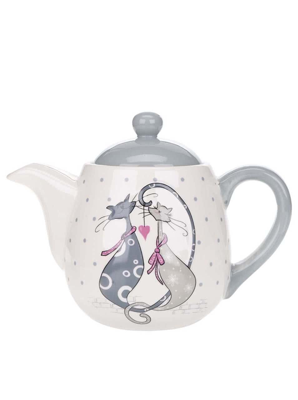 Krémová konvička na čaj s motívom mačiek Dakls