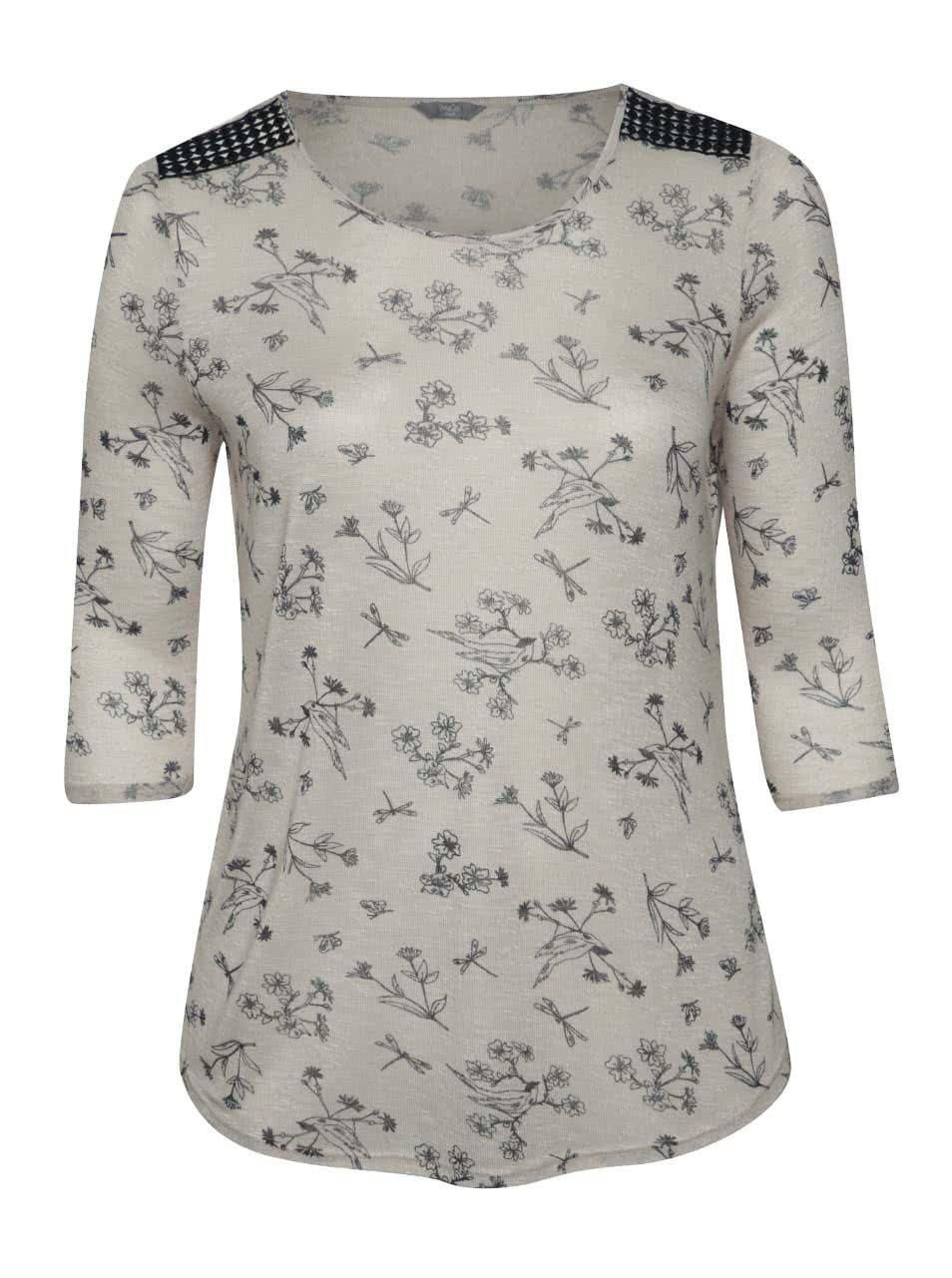 Béžové dámské květované tričko s 3/4 rukávem M&Co