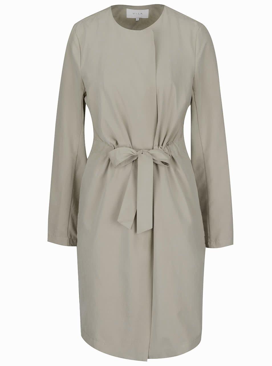 Béžový lehký kabát se stahováním v pase VILA Wonderfull