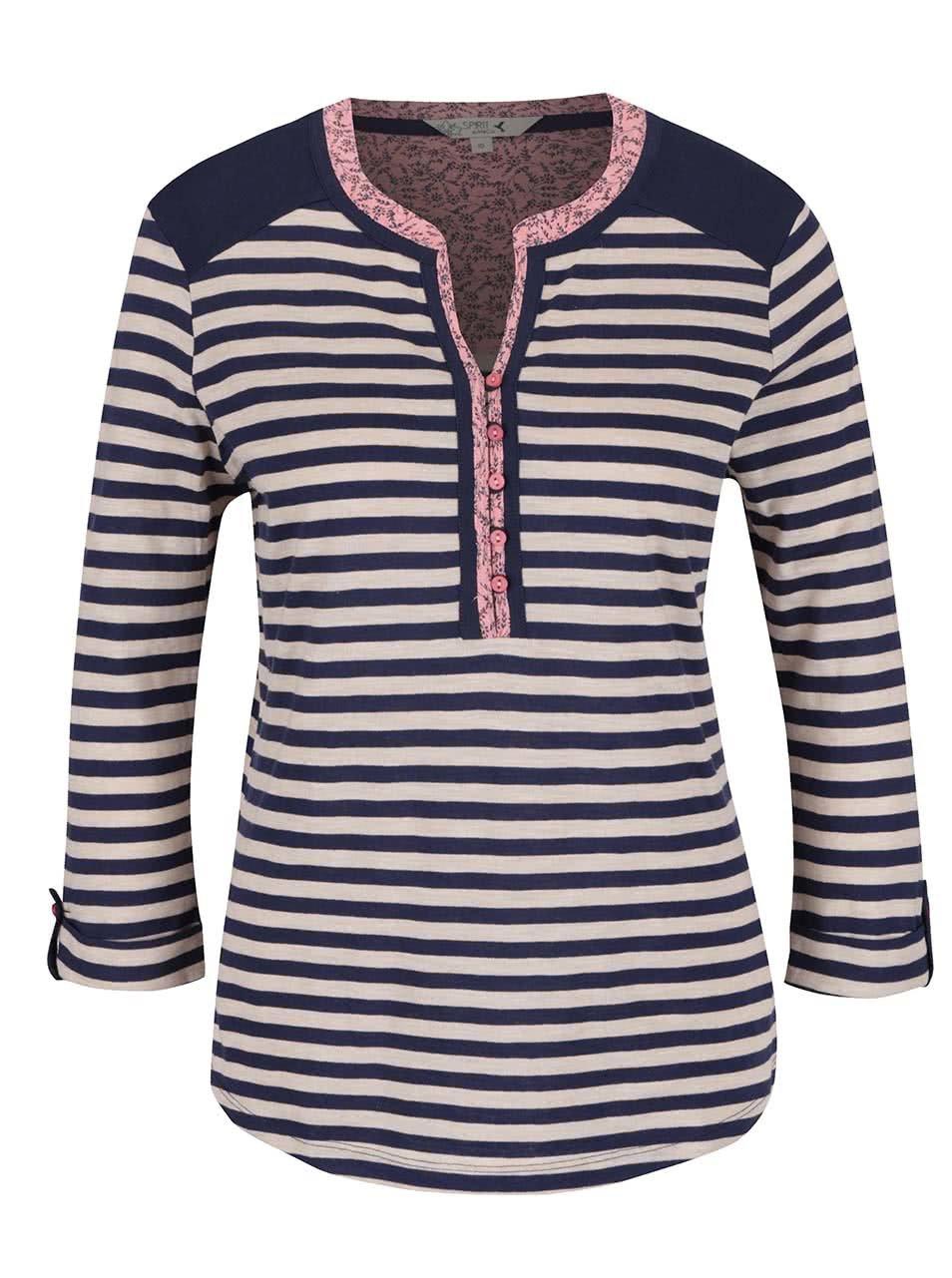 Béžovo-modré dámské pruhové tričko M&Co