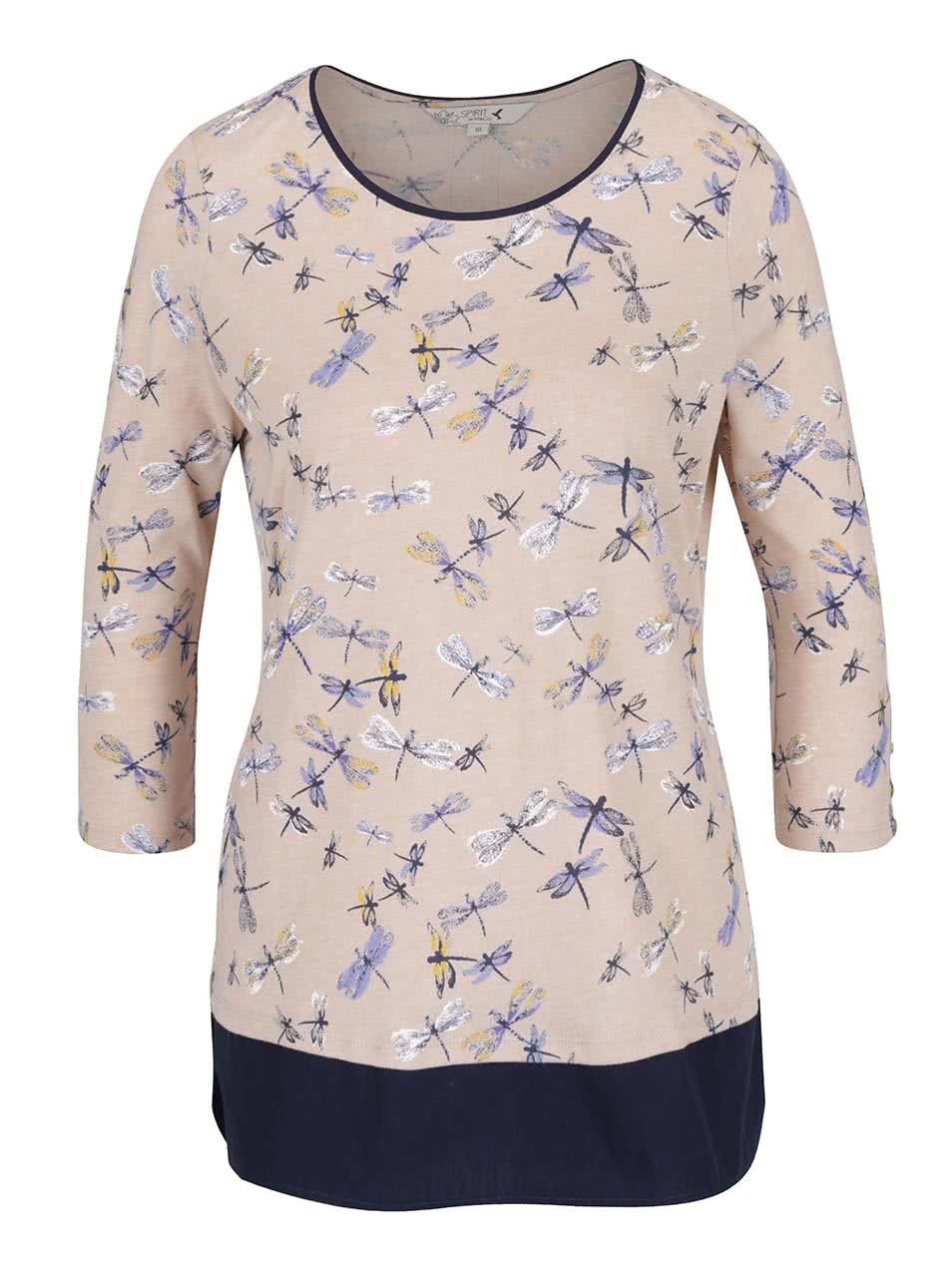 Modro-béžové dámské tričko s motivem vážek M&Co