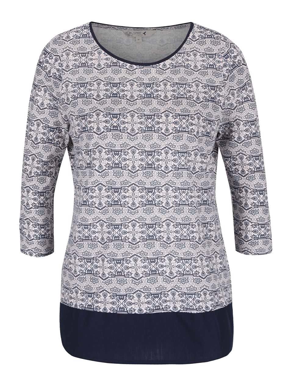 Růžovo-modré dámské vzorované tričko M&Co