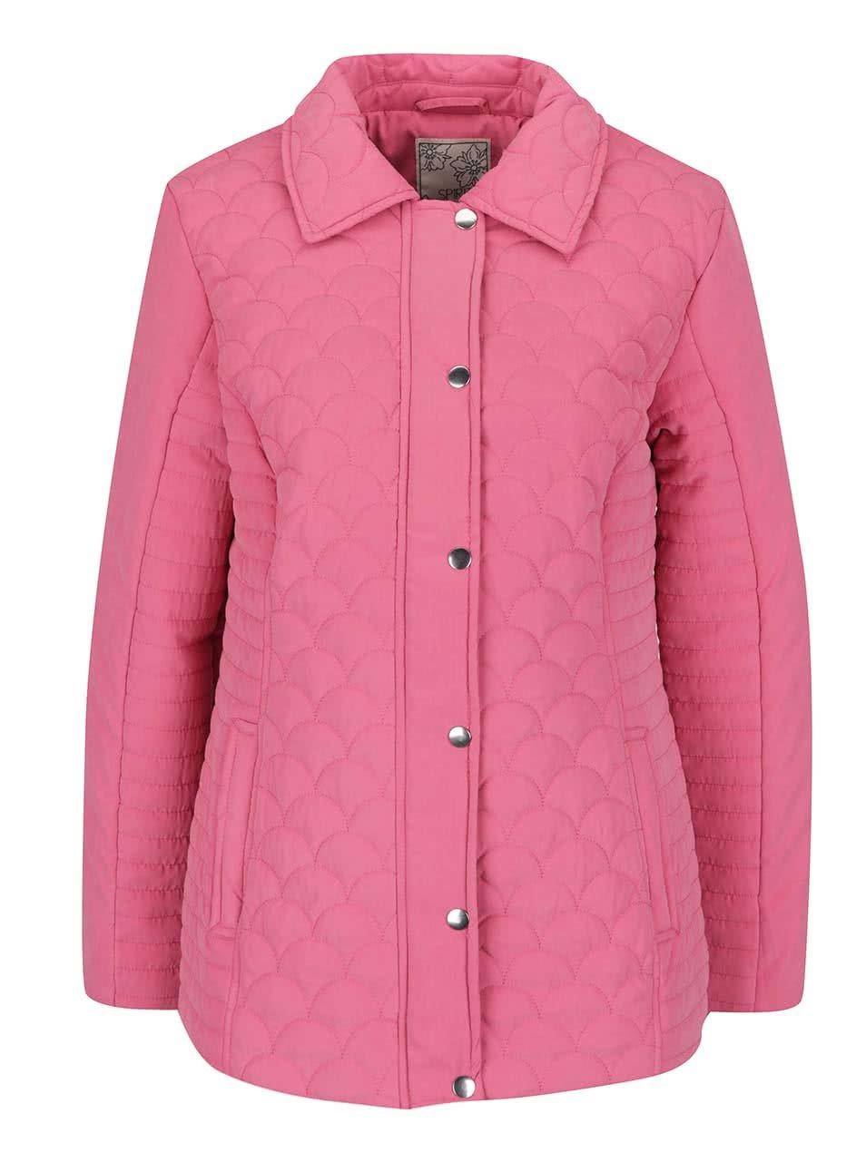 Růžová dámská prošívaná bunda M&Co