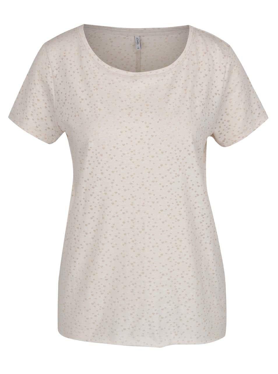 Béžové tričko s motivem srdíček Only MIra
