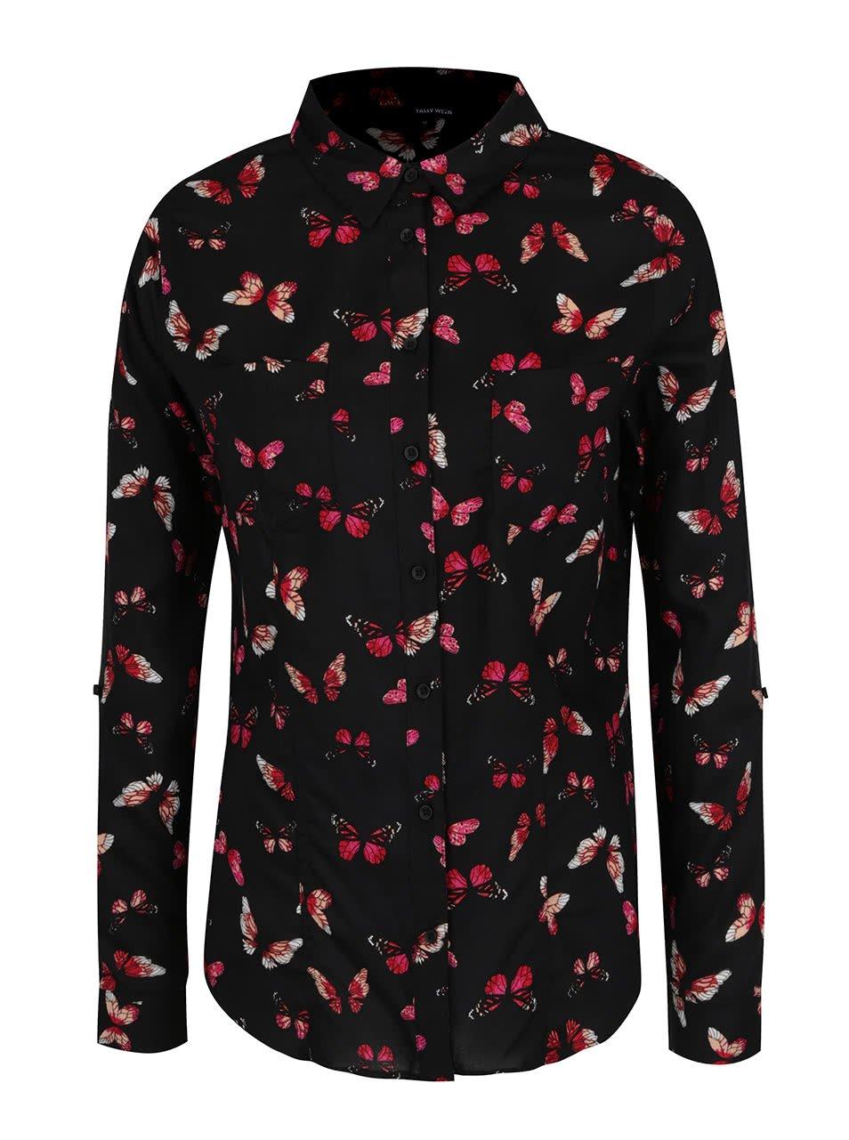Černá košile s potiskem motýlů TALLY WEiJL