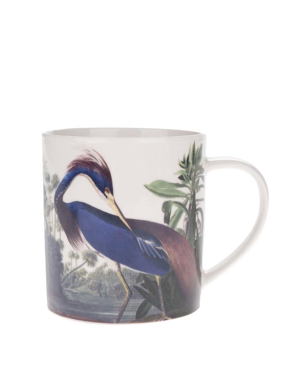 Zeleno-krémový porcelánový hrnek s potiskem Magpie Birds