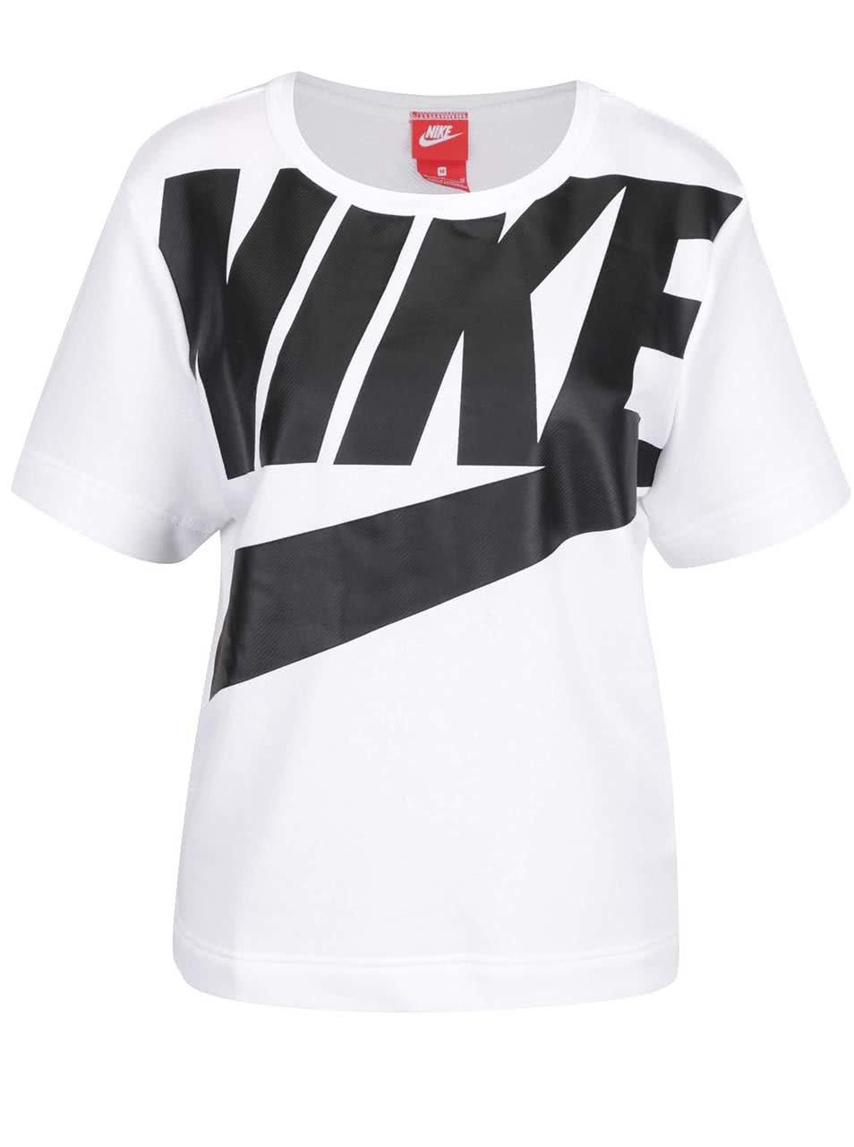 Bílé dámské tričko s černým potiskem Nike