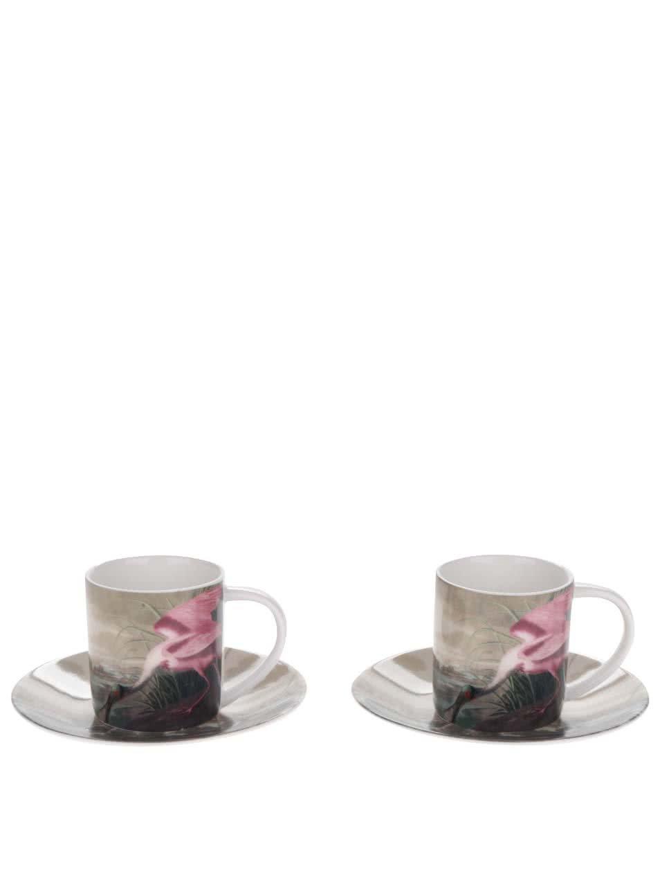 Zeleno-růžová sada dvou espresso hrníčků s podšálky Magpie Birds