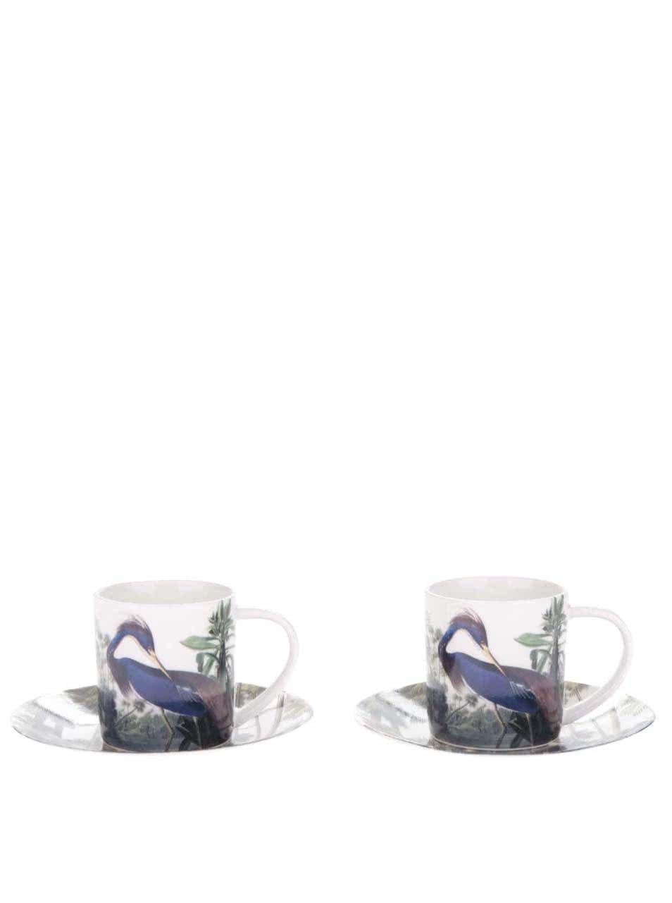 Zeleno-krémová súprava dvoch espresso hrnčekov s podšálkou Magpie Birds