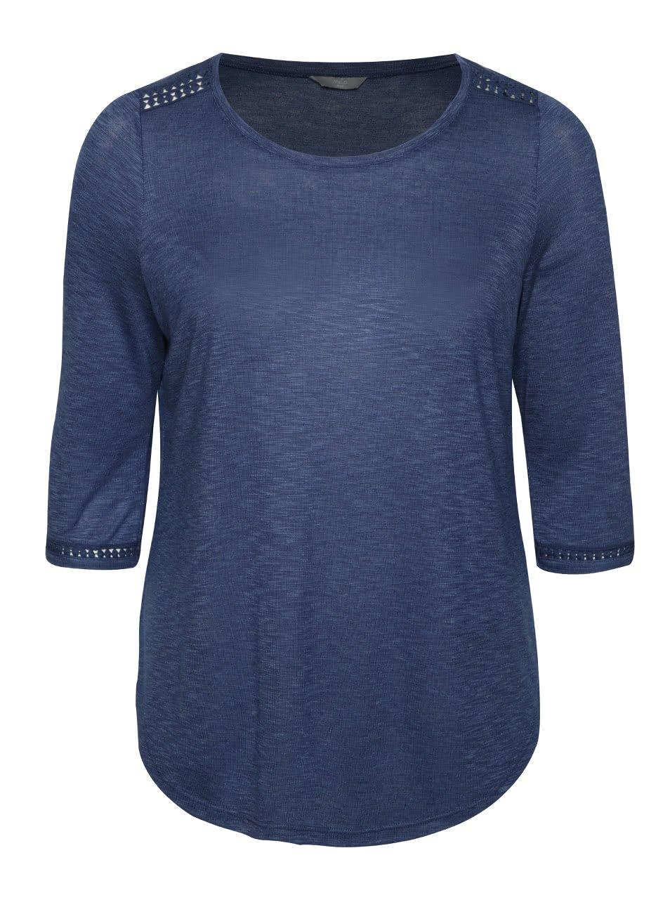 Modré žíhané dámské tričko s 3/4 rukávem M&Co
