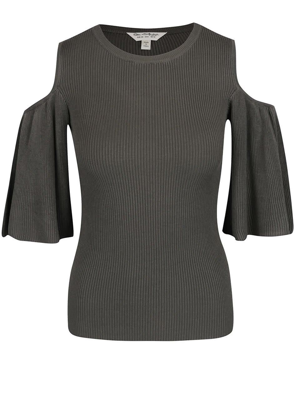 Khaki tričko s průstřihy na ramenou Miss Selfridge