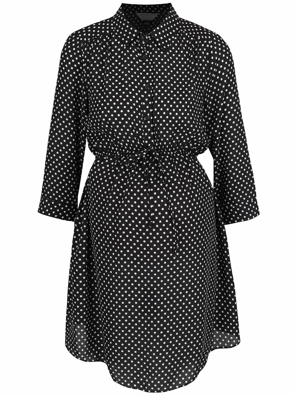 Černé těhotenské šaty s bílými puntíky Dorothy Perkins Maternity