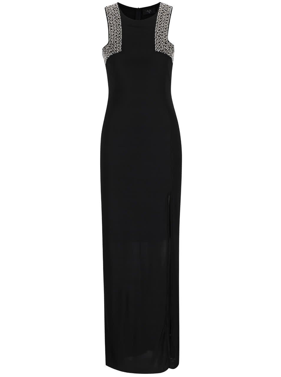 Černé dlouhé šaty s aplikací AX Paris