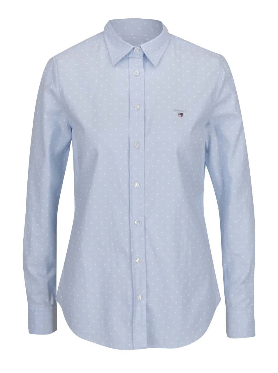 Světle modrá dámská puntíkovaná košile GANT Oxford