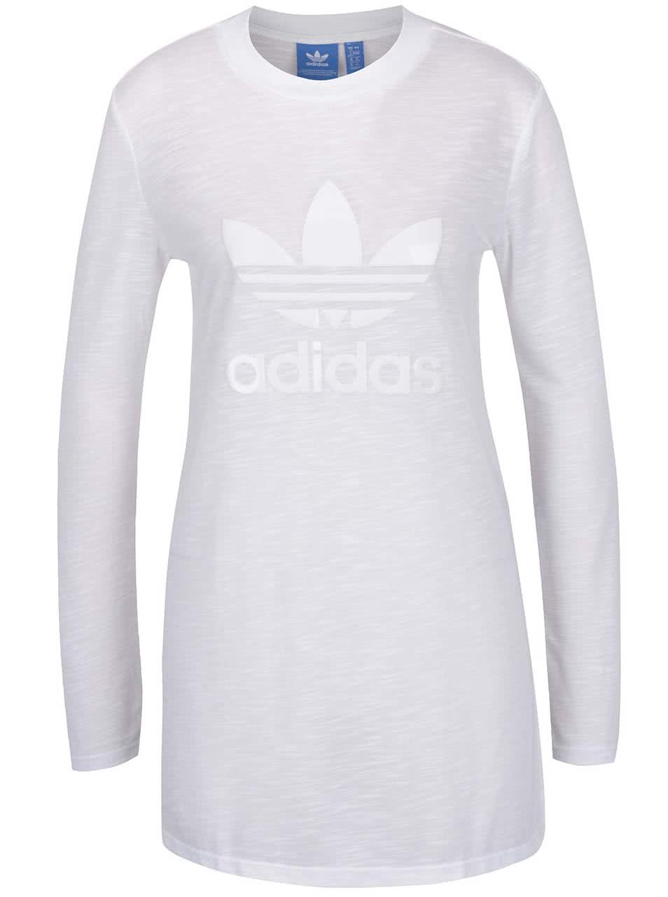 Bílé dámské dlouhé průsvitné tričko adidas Originals
