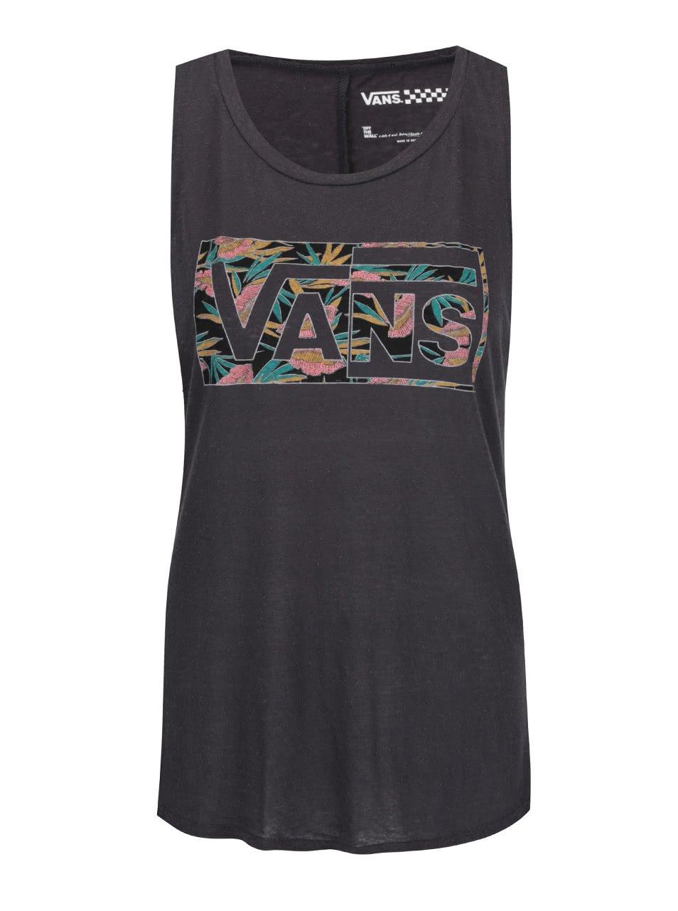 Tmavě šedé dámské tílko s barevným nápisem Vans Tropical Blast