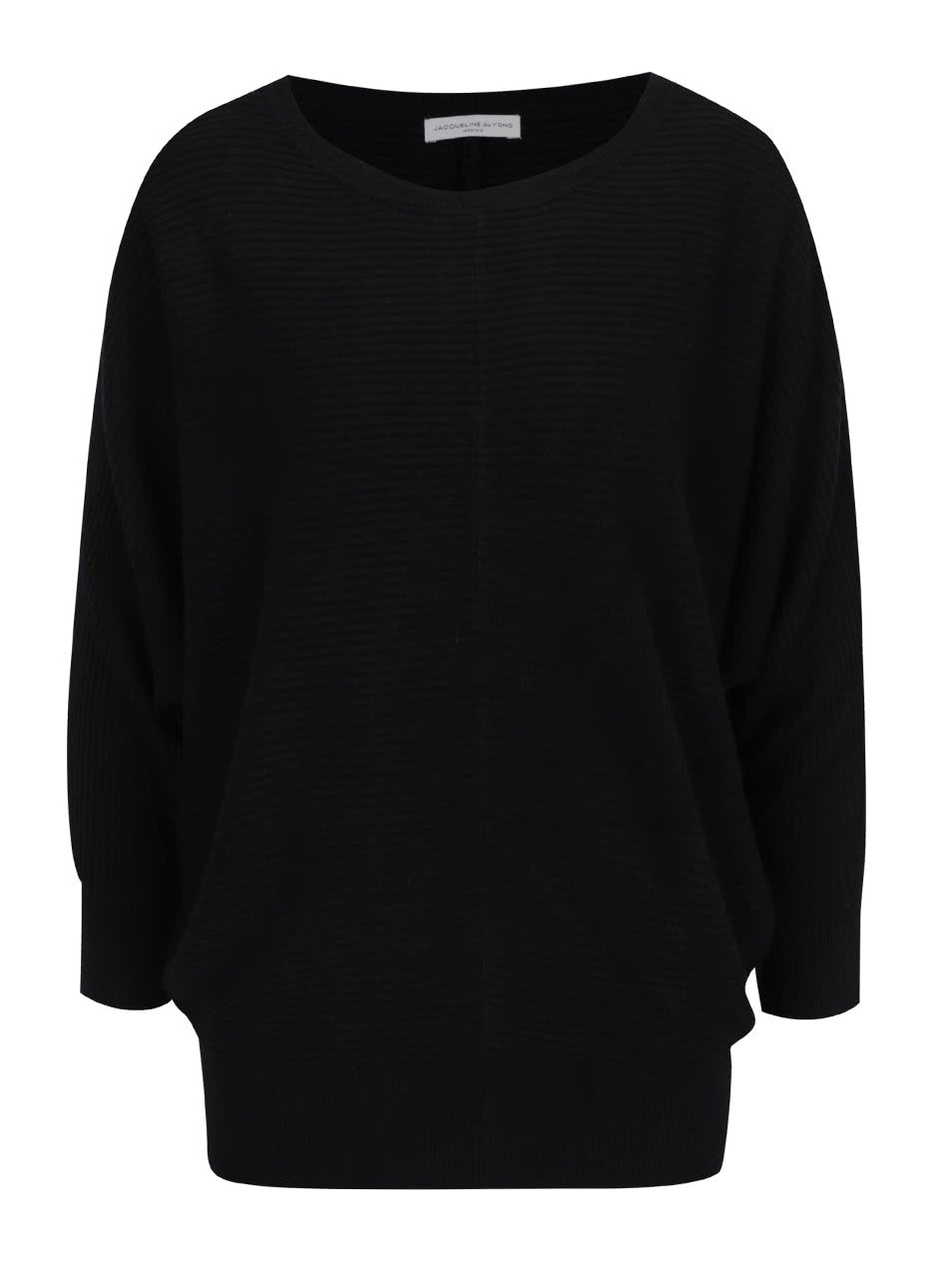 Černý žebrovaný svetr s netopýřími rukávy Jacqueline de Yong Flip
