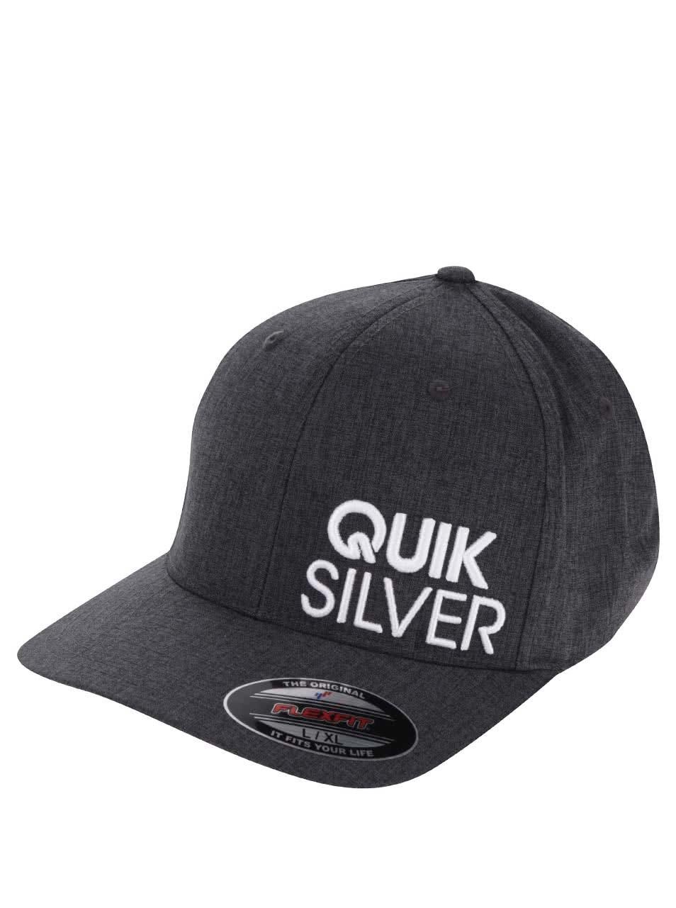 Tmavě šedá žíhaná pánská kšiltovka s výšivkou Quiksilver