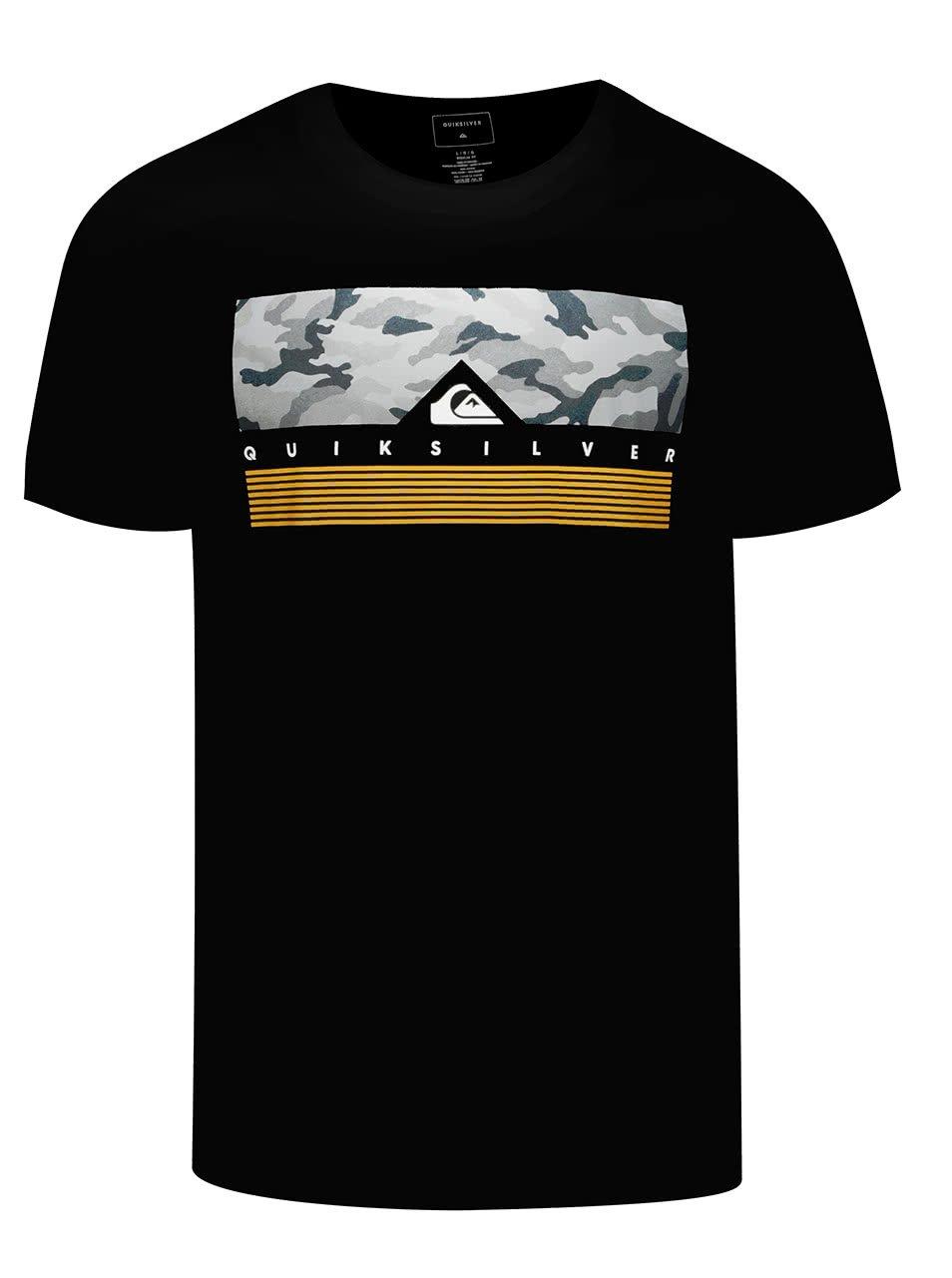 Černé pánské triko s maskáčovým potiskem Quiksilver