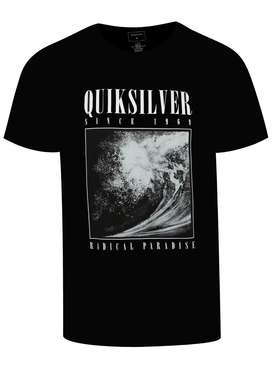 Černé pánské triko s bílým potiskem Quiksilver