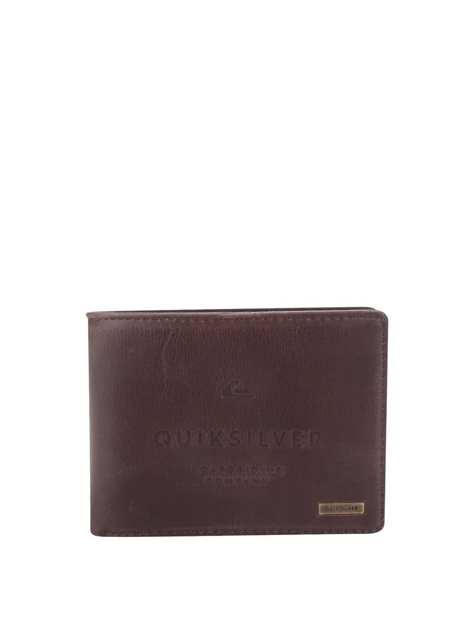 Tmavě hnědá pánská koženková peněženka s nápisem Quiksilver
