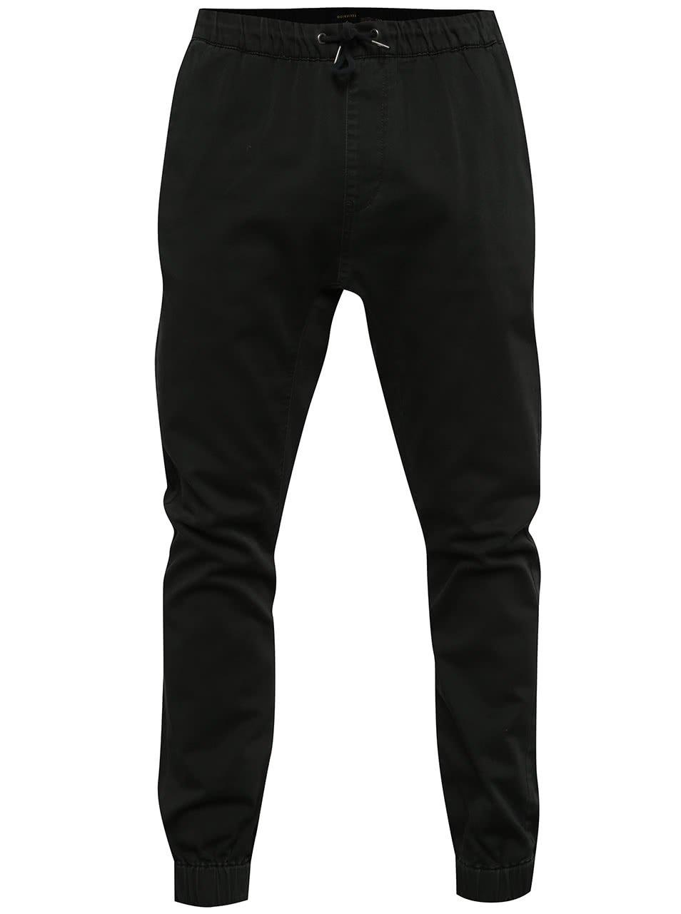 Černé pánské kalhoty s gumou v pase Quiksilver