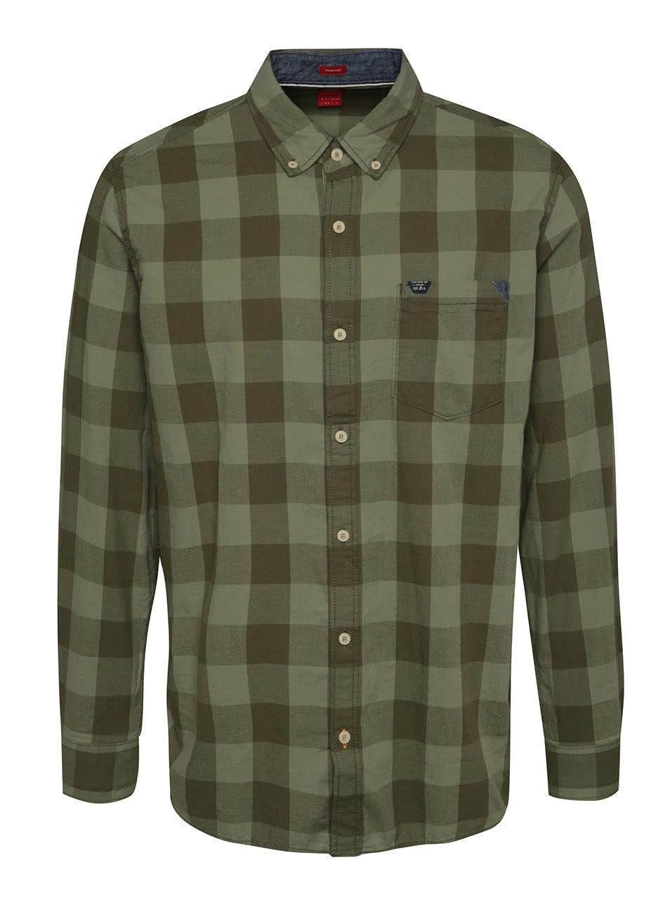 Khaki pánská kostkovaná košile s.Oliver