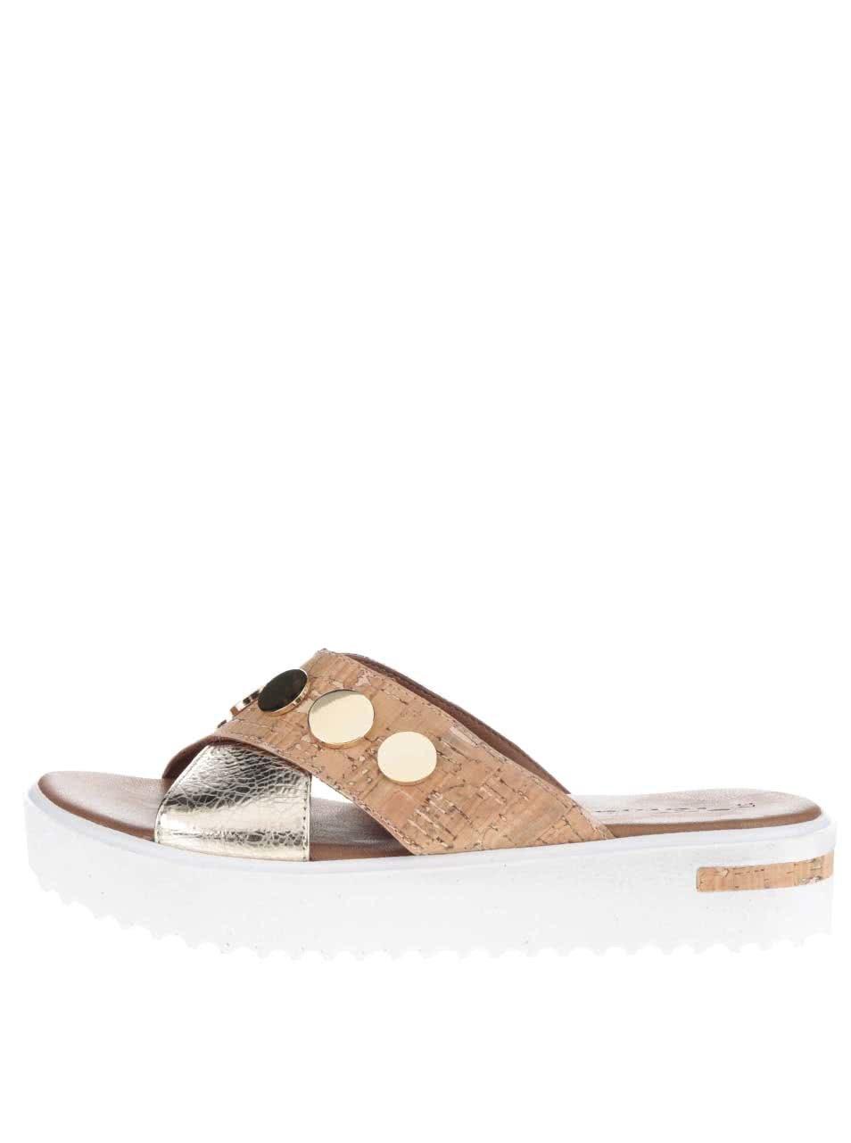 Hnědé kožené pantofle na platformě Tamaris