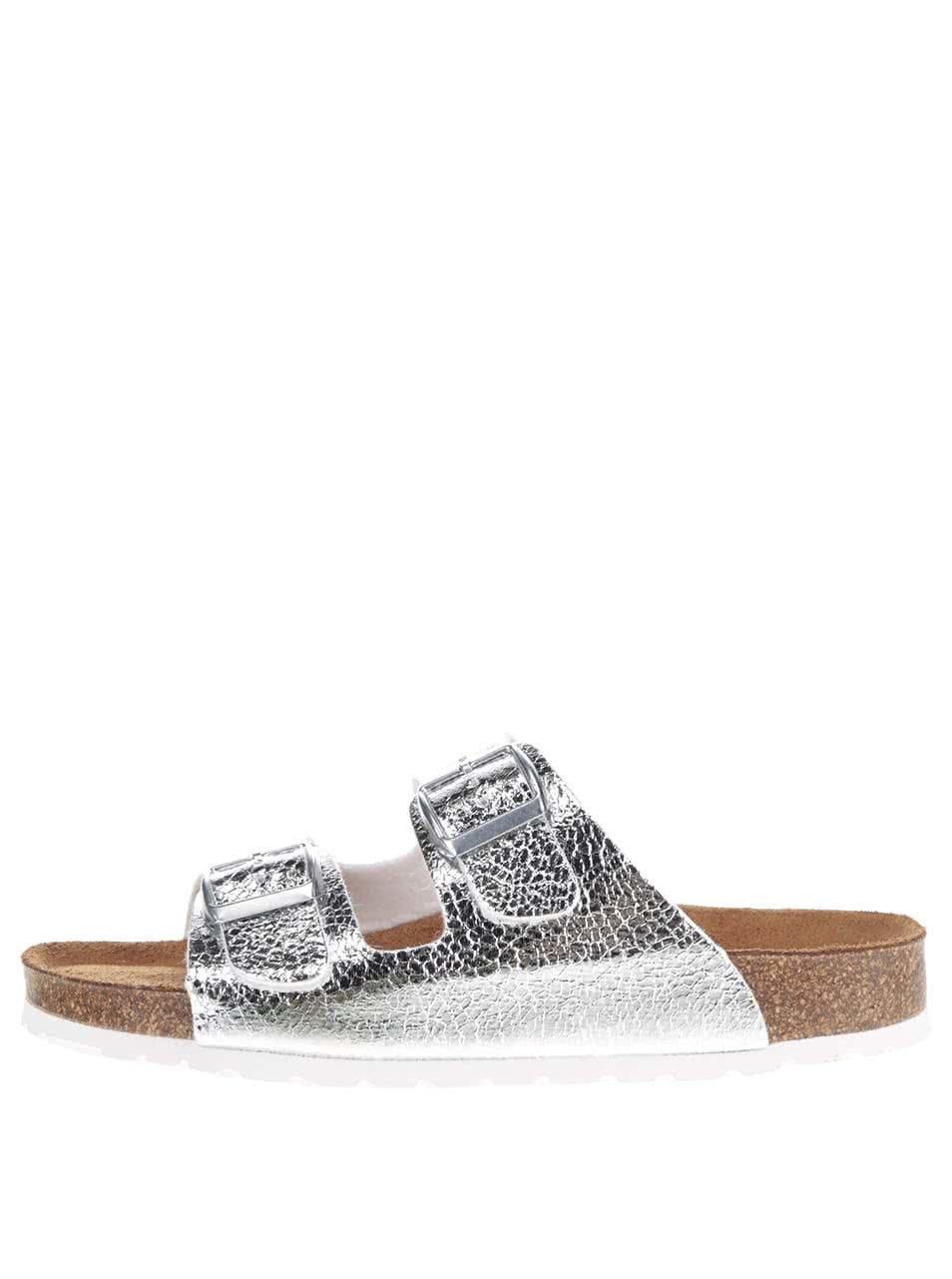 Kožené pantofle ve stříbrné barvě Tamaris