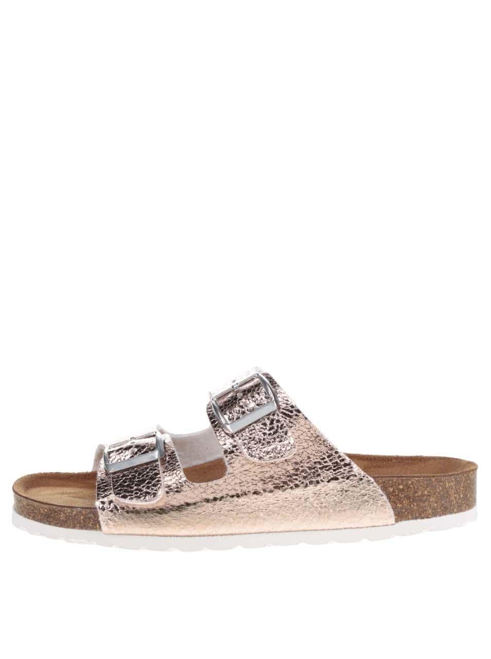 Starorůžové kožené pantofle Tamaris