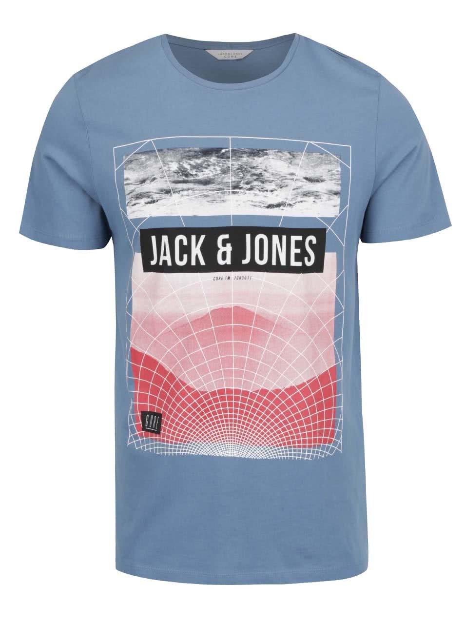 Modré triko s barevným potiskem Jack & Jones