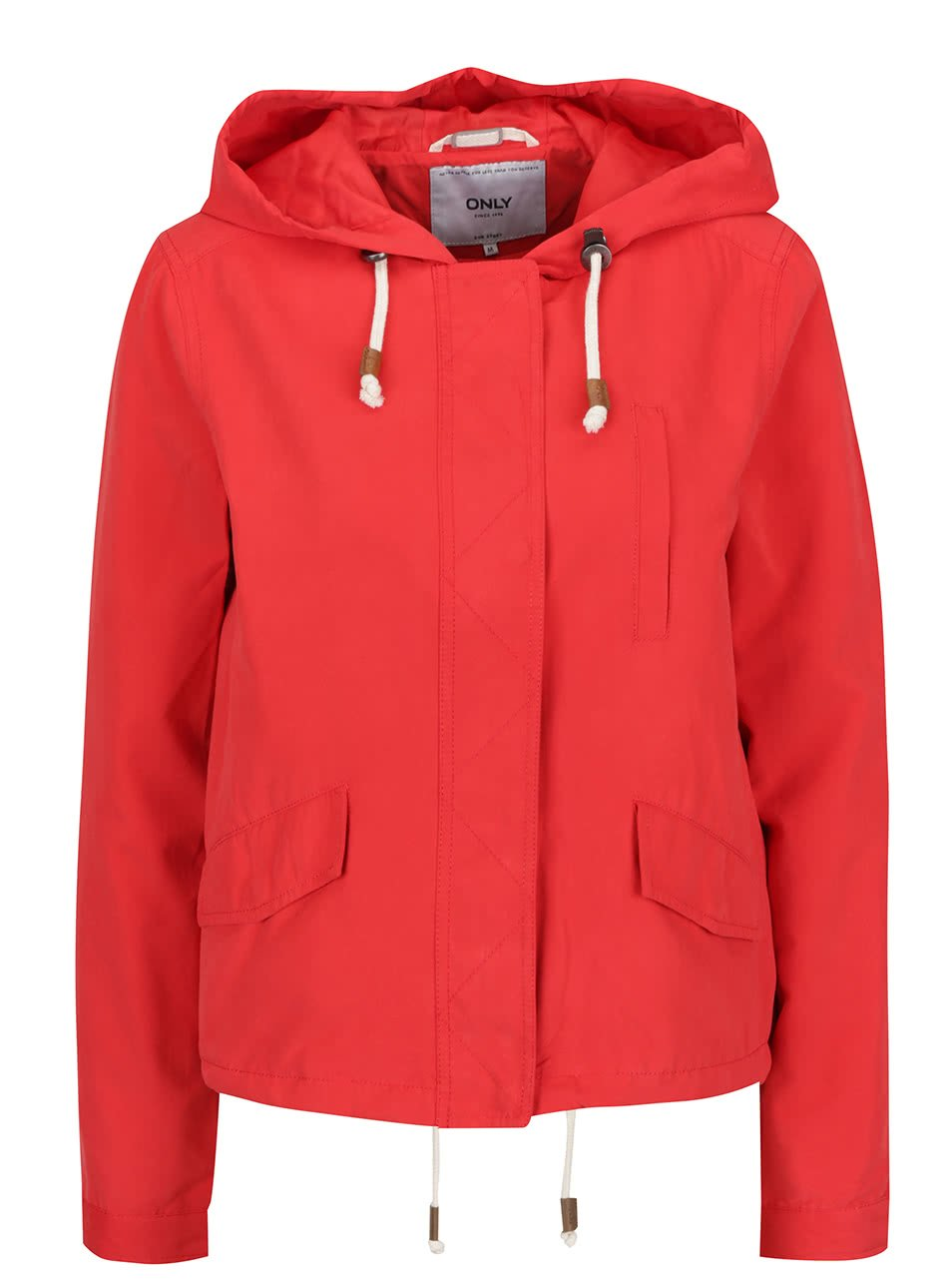 Červená lehká bunda s kapucí ONLY Skylar